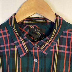 J.Crew Classic Fit Plaid Tartan Shirt Size 10